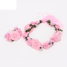 2pcs/set Wedding Women Rose Flower Wreath headband and wrist Kids Party flower crown and Bracelet with Ribbon Adjustable garland(China)