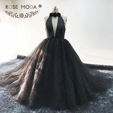 Rose Moda Halter Black Ball Gown Backless Formal Long Evening Dress Glittering Evening Dresses 2018(China)
