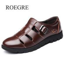 Men Sandals Roman-Shoes Outdoor Genuine-Leather Casual for Plus-Size 38-47