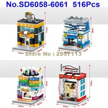 SD6058-6061 516pcs 4in1 City Mini Street Digital Store Video Game Room Sports Auto Repair Shop LED Building Block Brick Toy(China)