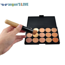 Free Shipping 15 Color Foundation Make-up Concealers Palette With Brush Makeup Concealer Camouflage Cream Eye Face Cosmetic(China)