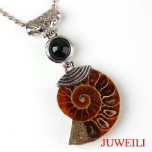 JUWEILI Jewelry Retail 1x Natural Stone Bead Different Half Ammonite Conch Petrification Reiki Pendant Necklace Women Men Amulet(China)