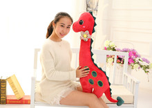 new big lovely dinosaur toy plush dinosaur pillow doll red new creative doll about 100cm(China)