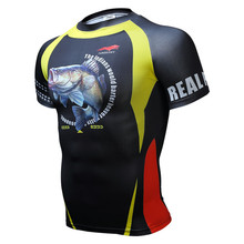 2017 Cycling boutique man short sleeve Round collar T-shirt is tight for fitness fish bike jerseys T-shirt bikeing products Free