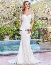 Buy ZYLLGF Bridal Lace Mermaid Wedding Dresses Half Sleeves Sexy Sheer Back Boat Neck Vestido De Noiva Sereia RM51 for $211.50 in AliExpress store