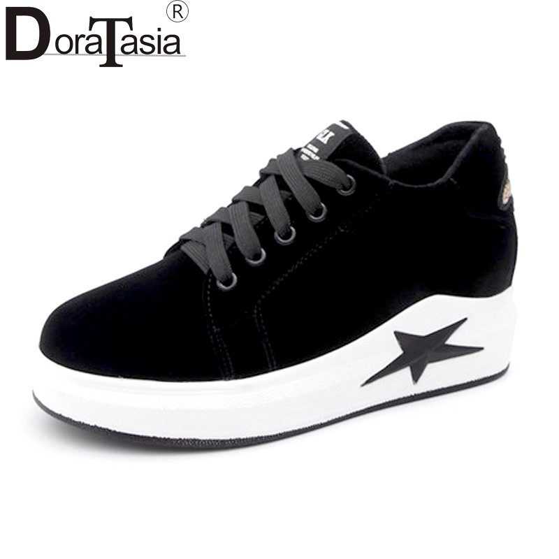 DoraTasia Womens Rubber Sole Lace Up Spring Autumn Casual Shoes Woman Black Suede Animla Embossed Platform Sneaker<br>