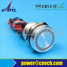 Big discount 19mm Chamfer head momentary RGB tri-color 3V Ring led Silver housing 1NO piezo switch