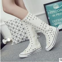 Large size 43 Vent Holes Hollow Boots Cheerleaders Dance Shoes Women Shoes Boots High-top Side Zipper Cross-tied Canvas Shoes