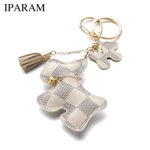 IPARAM fashion cute purse pu dog keychain can be used for car key accessories bag accessories(China)