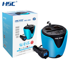 HSC YC-19D 3.1A 2 USB Car Cup Holder Car Cigarette Lighter Socket Adapter 80W Car Charger Voltage Current Display Quick Charger(China)