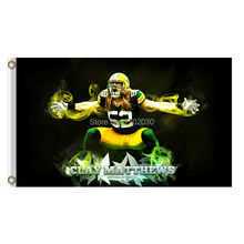 Clay Matthews 52 Design Green Bay Packers Flag Banners Sport Football Team Flags 3x5 Ft Super Bowl Champions Banner(China)