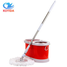 KOYIDA Rolling Magic Spin Mop Bucket Stainless Steel Double Drive With 1 Microfiber Mop Head Household Floor Cleaning Sets