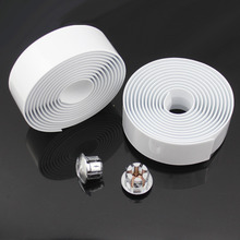 1pair New Cycling Road Bike Bicycle Cork Handlebar Wrap Tape White + 2 Bar Plugs(China)