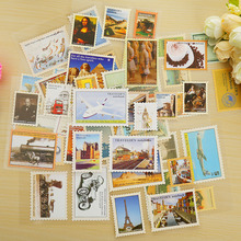 4 sheets/lot vintage travel postage stamp paper sticker DIY scrapbooking diary post it stationery school supplies