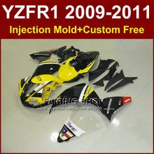 DIY yellow body parts for YAMAHA fairings YZFR1 2009 2010 2011 Injection mold YZFR1 09 10 11 12 R1 bodyworks YZF1000 R1+7Gifts