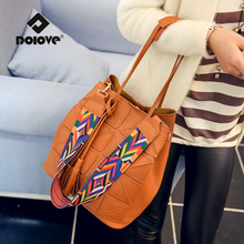 DOLOVE 2017 New Korean Fashion Triangle Fight Water Bucket Women Bag Shoulder Diagonal Messenger Handbags
