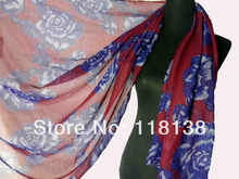 Handpainted Flower Print Floral Scarf Shawl Beach Wrap Ladies Accessories Birthday Mother's Day Gift, Free Shipping(China)