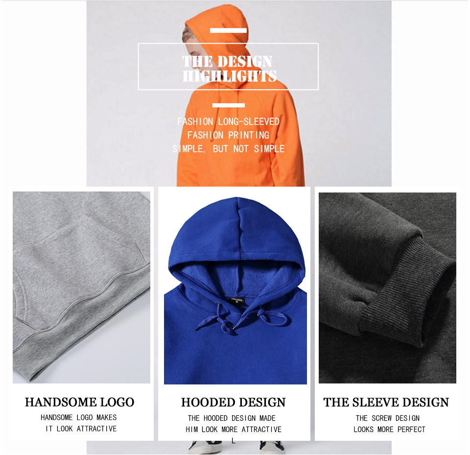 17 fashion color orange hooides men's thick clothes winter sweatshirts men Hip Hop Streetwear solid fleece hoody man Clothing 3