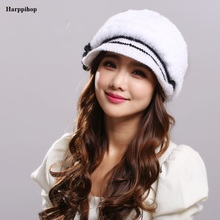 Winter women's visors  hats Knitted Cap  Beret Cap Elegant Lady Peaked Cap Rabbit Fur Warm Women Hats Gorro