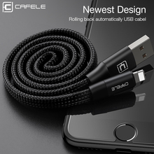Cafele 60cm USB Cable for Apple iPhone 5/5S/SE/6/6S/6 Plus/7/7 Plus Automatic Take-up USB Charging Cable for IOS 8-10 Black(China)