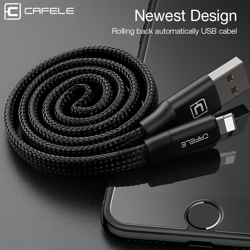 Cafele 60cm USB Cable for Apple iPhone 5/5S/SE/6/6S/6 Plus/7/7 Plus Automatic Take-up USB Charging Cable for IOS 8-10 Black(China (Mainland))