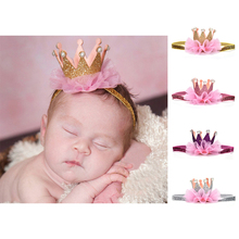 Newborn Crown Headband Gold princess crown Baby Girls Cute Hair Band Infant Kids Hair Accessories Children Photo Props 1pc(China)
