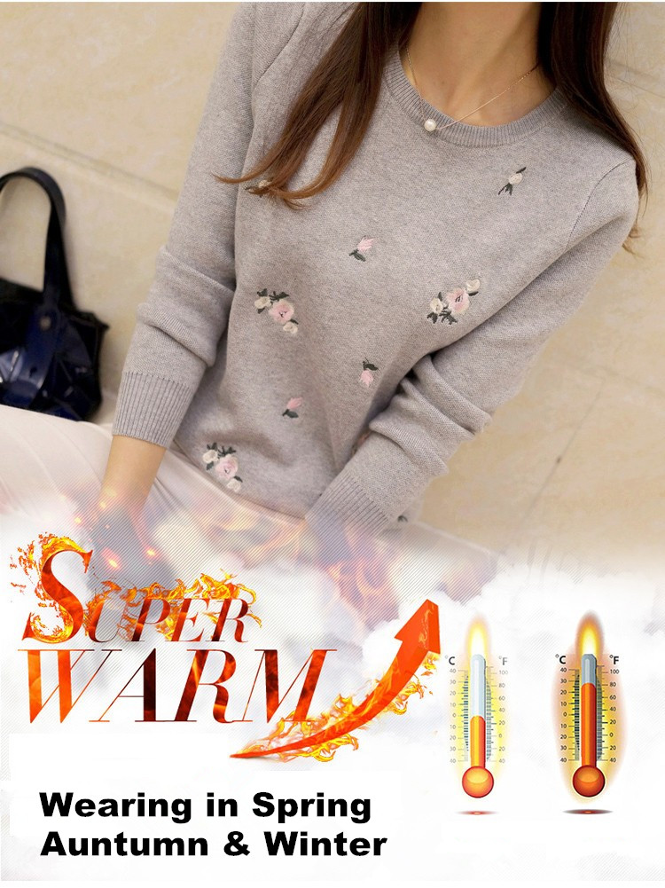 S-3XL New Youth Women's Sweater Autumn Winter 17 Fashion Elegant Peach Embroidery Slim Girl's Knitted Pullover Tops Female 3