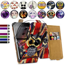 "For Sony Xperia SP Case 4.6"" Universal Printed Stand Leather Cover For Sony Xperia SP M35h C5303 Flip Case Minion Skin Wallet"