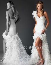 White Short Front Long Back Prom Dresses One Shoulder Tiered Feather High Low Dress Rhinestone Handmade Flower Party Gowns