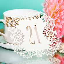 10pcs/set 10 Numbers Ivory Hollow Lace Table Number Table Cards  Rustic Wedding Centerpieces Vintage Event & Party Supplies