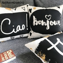 Cool Letter Pillow Covers Cute Decorative Coffee Bar Funiture Canvas Cushion Cover for Car Chair Bed Sofa SMC1750T-FB