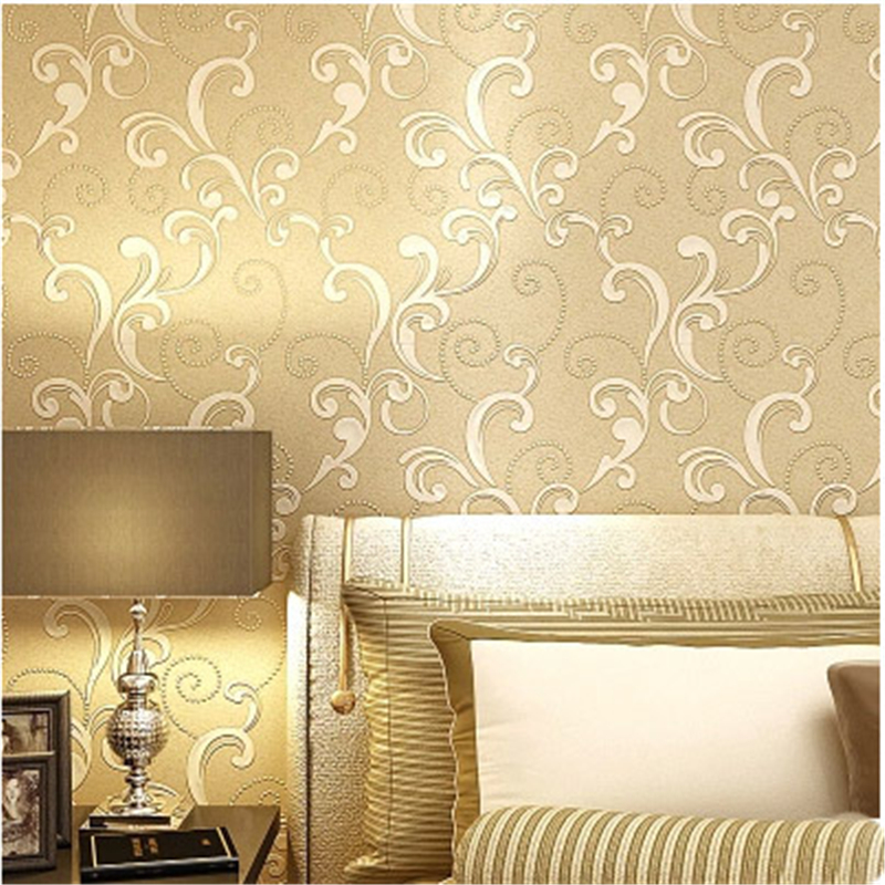 beibehang Classic European Style Leaf Wallpaper Home Decor Mural Flocking Wall Ppaer Luxury Textile Wallpapers Bedroom Livin<br>