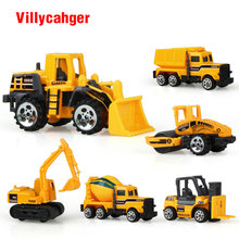 6 types Diecast mini alloy construction vehicle Engineering Car Dump-car Dump Truck Model Classic Toy Mini gift for boy 1355