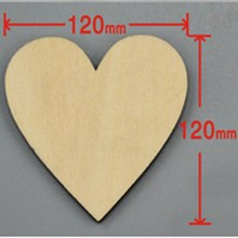 24pcs/bag 120mm Blank unfinished wooden heart crafts supplies laser wood Wedding decoration teaching DIY accessories 001001068(China)