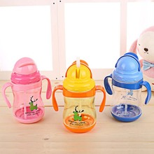 300ML Baby Drinking Bottle With Straw Handle Portable Feeding Bottle Flip Lid Plastic Leakproot Milk Bottle for Kids Gift(China)