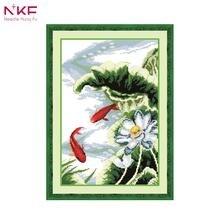 NKF 14CT 11CT печатью и Счетный лотоса и карпы Вышивка крестом для украшения дома D042 (1)(China)