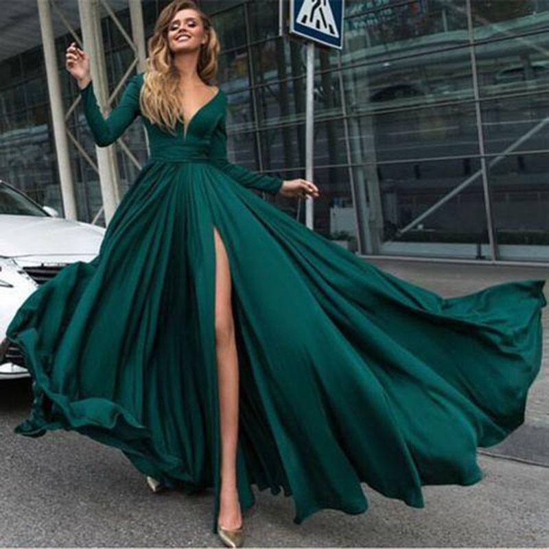Sexy Evening Dresses Long Side Split Chiffon Evening Gowns Long Formal Women Prom Party Gowns Robe De Soiree Abendkleider(China)
