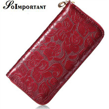 Magic Wallet Leather Female Floral Women Wallets Purse Designer Luxury Brand Long Wallets Flower Zipper Card Holder Clutch Handy(China)