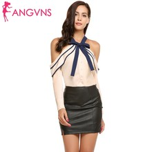 Buy ANGVNS Women Halter Chiffon Blouse Shoulder Long Sleeve Bow Tie Ruffle Collar Sexy Party 2017 Autumn Chiffon femme Tops