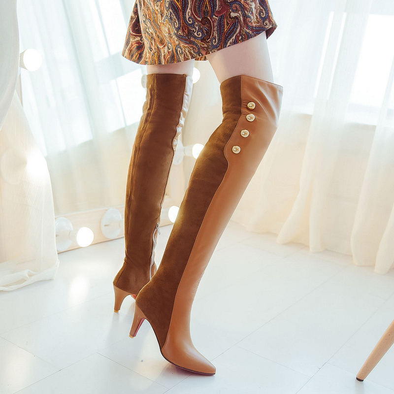 winter fashion sexy thin high-heeled womens slim woman thigh boots over the knee boots ultra high heel long boots  size 32-45<br><br>Aliexpress