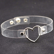 Punk Style Clear Transparent PU Leather Heart Circle Metal Handmade Choker Necklace Women Collar Jewelry Accessories