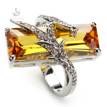 SHUNXUNZE Exquisite Gift best sell Panic buying yellow Cubic Zirconia Favourite Silver Plated Ring R560 sz# 6 7 8 9 New pattern