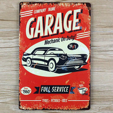 "wall pictures "" Garage Car here""  vintage metal signs  House Cafe Restaurant Beer Poster for bar Metal Craft ART 20*30 CM"