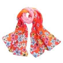 2017 Women summer Long Soft Wrap scarf Ladies Shawl Scarves women Silk scarf flower Beach pareo cape chiffon Shawls and stoles(China)