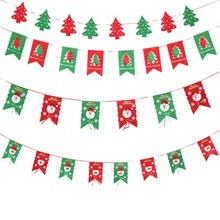 Xmas Flags Santa Clause Floral Bunting Banners Merry Christmas Decoration Home  Fabric Shop Market Room Decor