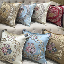 cs003 wholesale 4pcs 45*45cm/55*55cm European Luxury Style Embroidered Flower Silk Brocade Cushion Cover without interior
