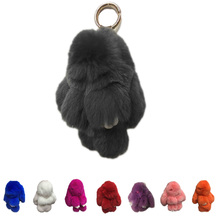 Play Dead Rabbit Fur Rabbit Bunny Keychain Fashion fur pom pom keychain Rabbit Toy Doll Hanging Pendant Jewelry Accessories(China)
