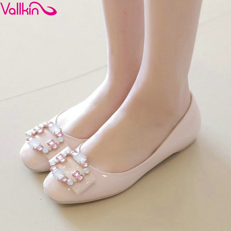 VALLKIN Sweet Slip on Summer Large Size 11 12 PU Pink Women Rhinestone Square Toe Wedges Heel Woman Pumps Ladies Wedding Shoe<br><br>Aliexpress