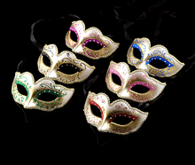 (10 pieces/lot)  New half-face 5 colors mixed glittered pulp Venetian cute princess masquerade party masks