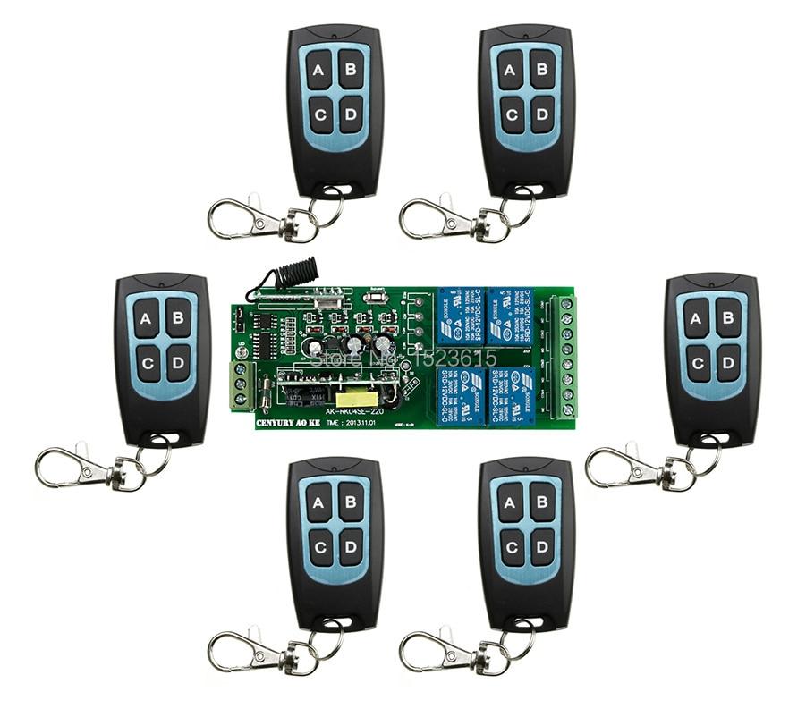 85v~250V 110V 220V 240V 4CH RF Wireless Remote Control Switch System 6 transmitter &amp; 1 receiver relay Receiver Smart Home Switch<br>
